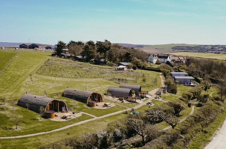 Tapnell Farm aerial view Toms Eco Lodge Autumn 2