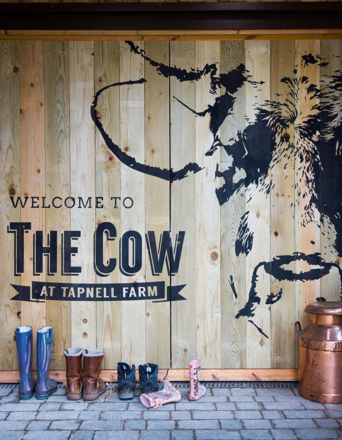 The Cow entrance with logo