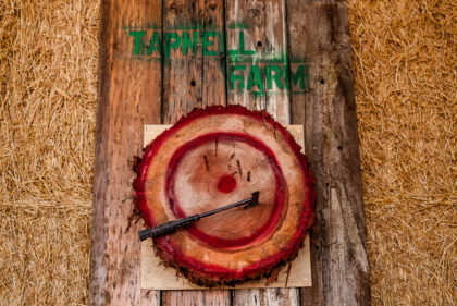 Tapnell Farm Axe throwing sign