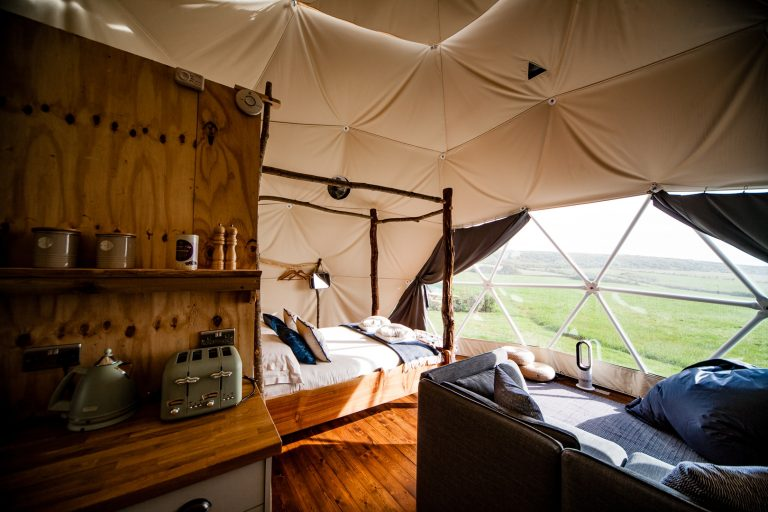 Toms Eco Lodge geodesic dome interior